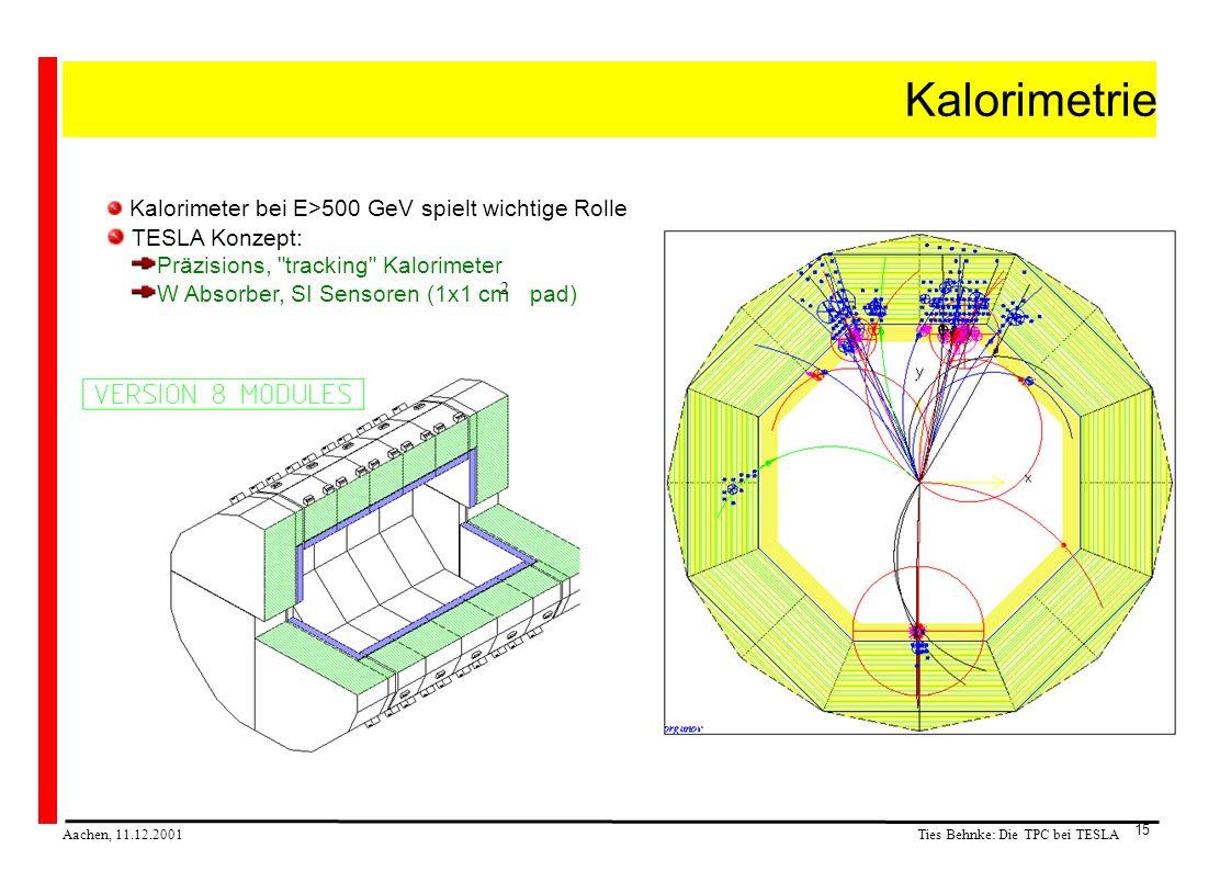 Ties Behnke: Die TPC bei TESLA Aachen, 11.12.2001 15 Kalorimetrie Kalorimeter bei E>500 GeV spielt wichtige Rolle TESLA Konzept: Präzisions, tracking Kalorimeter W Absorber, SI Sensoren (1x1 cm pad) 2