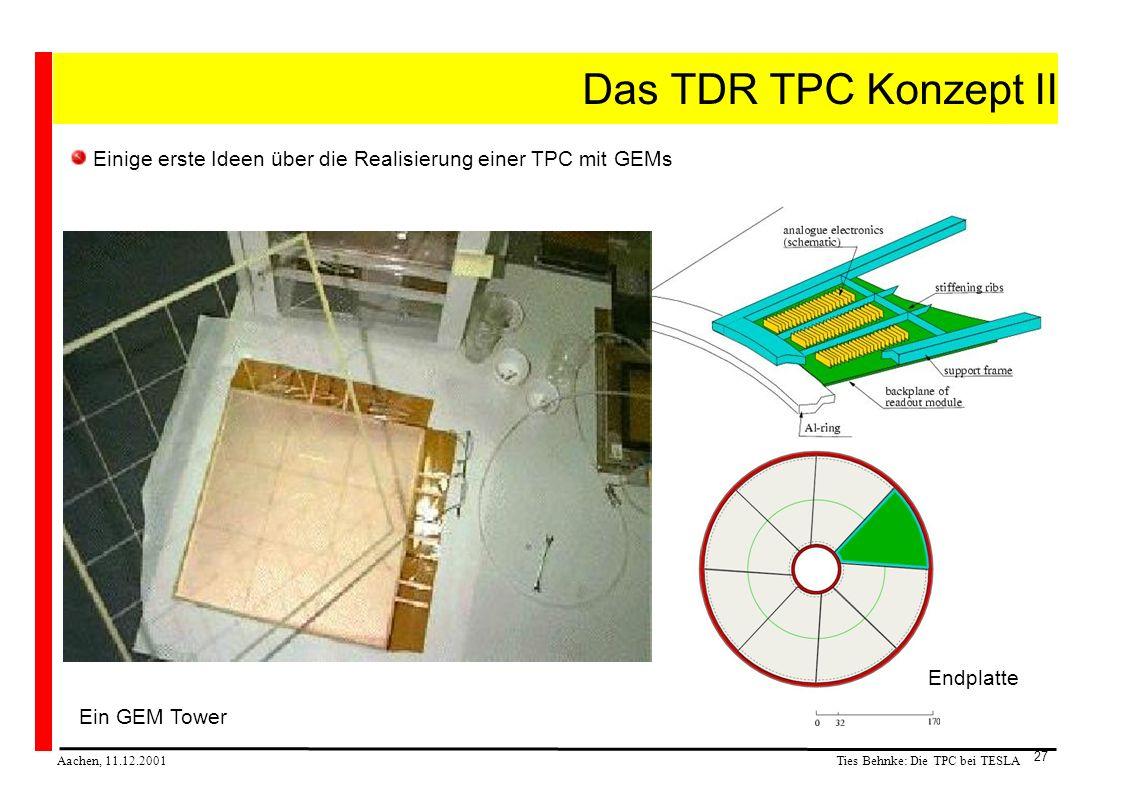 Ties Behnke: Die TPC bei TESLA Aachen, 11.12.2001 27 Das TDR TPC Konzept II Einige erste Ideen über die Realisierung einer TPC mit GEMs Ein GEM Tower Endplatte