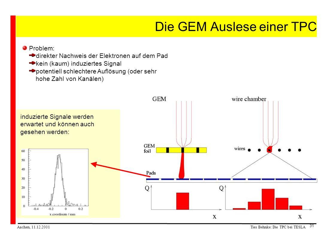 Ties Behnke: Die TPC bei TESLA Aachen, 11.12.2001 31 Die GEM Auslese einer TPC Problem: direkter Nachweis der Elektronen auf dem Pad kein (kaum) induziertes Signal potentiell schlechtere Auflösung (oder sehr hohe Zahl von Kanälen) induzierte Signale werden erwartet und können auch gesehen werden: