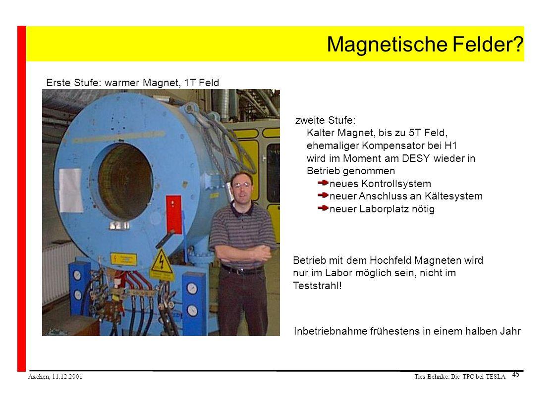 Ties Behnke: Die TPC bei TESLA Aachen, 11.12.2001 45 Magnetische Felder.