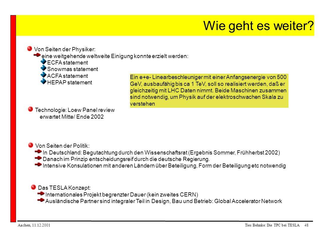 Ties Behnke: Die TPC bei TESLA48Aachen, 11.12.2001 Wie geht es weiter.