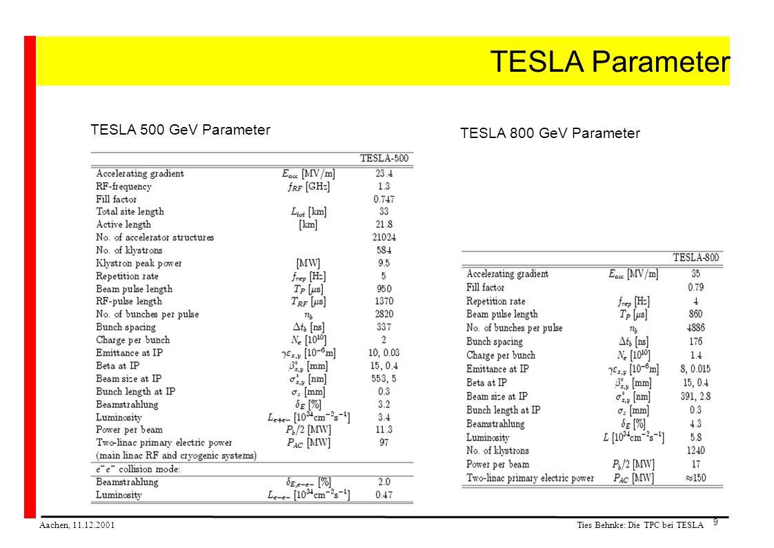 Ties Behnke: Die TPC bei TESLA Aachen, 11.12.2001 9 TESLA Parameter TESLA 500 GeV Parameter TESLA 800 GeV Parameter