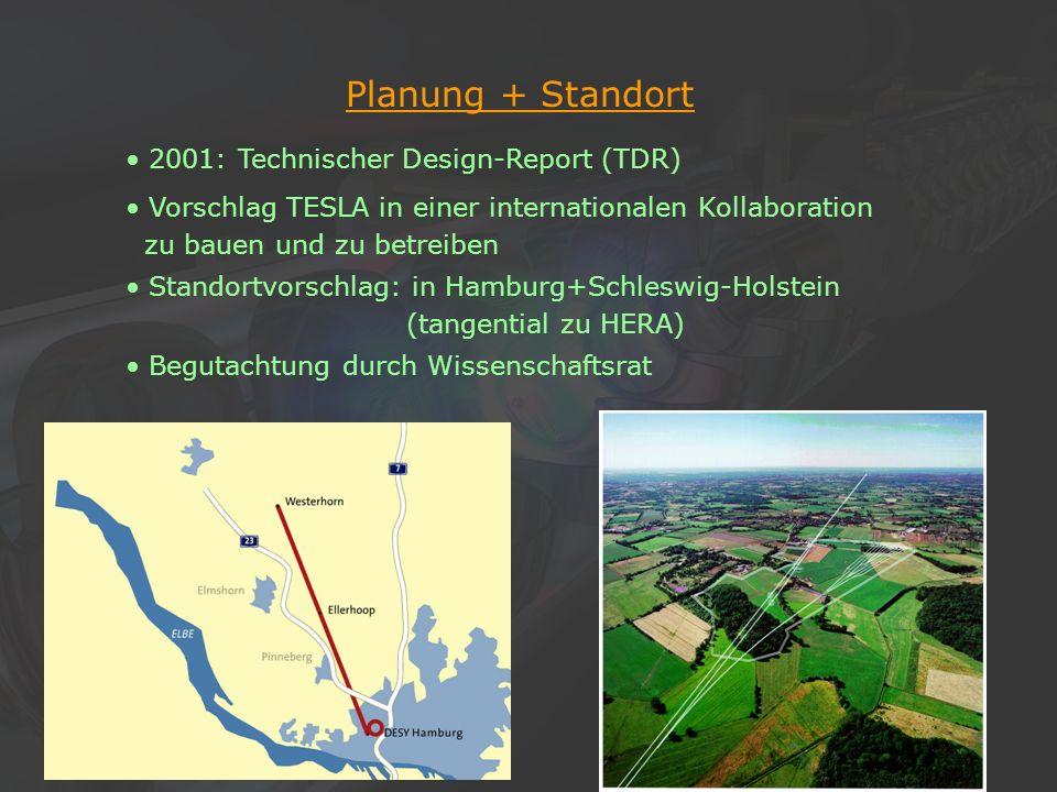 14Klaus Desch, Der Elektron-Positron-Linearcollider TESLA, 22/11/2002 Planung + Standort 2001: Technischer Design-Report (TDR) Vorschlag TESLA in eine