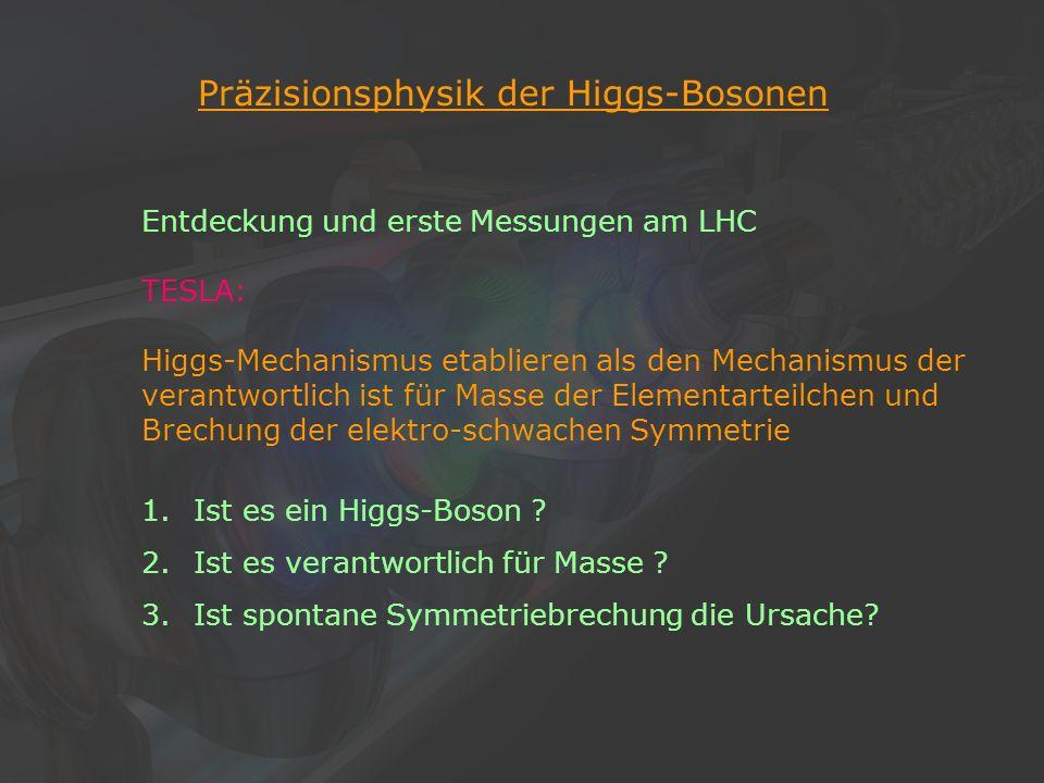 16Klaus Desch, Der Elektron-Positron-Linearcollider TESLA, 22/11/2002 Präzisionsphysik der Higgs-Bosonen Entdeckung und erste Messungen am LHC TESLA: