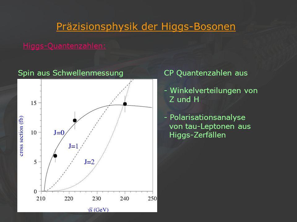 18Klaus Desch, Der Elektron-Positron-Linearcollider TESLA, 22/11/2002 Präzisionsphysik der Higgs-Bosonen Higgs-Quantenzahlen: Spin aus Schwellenmessun