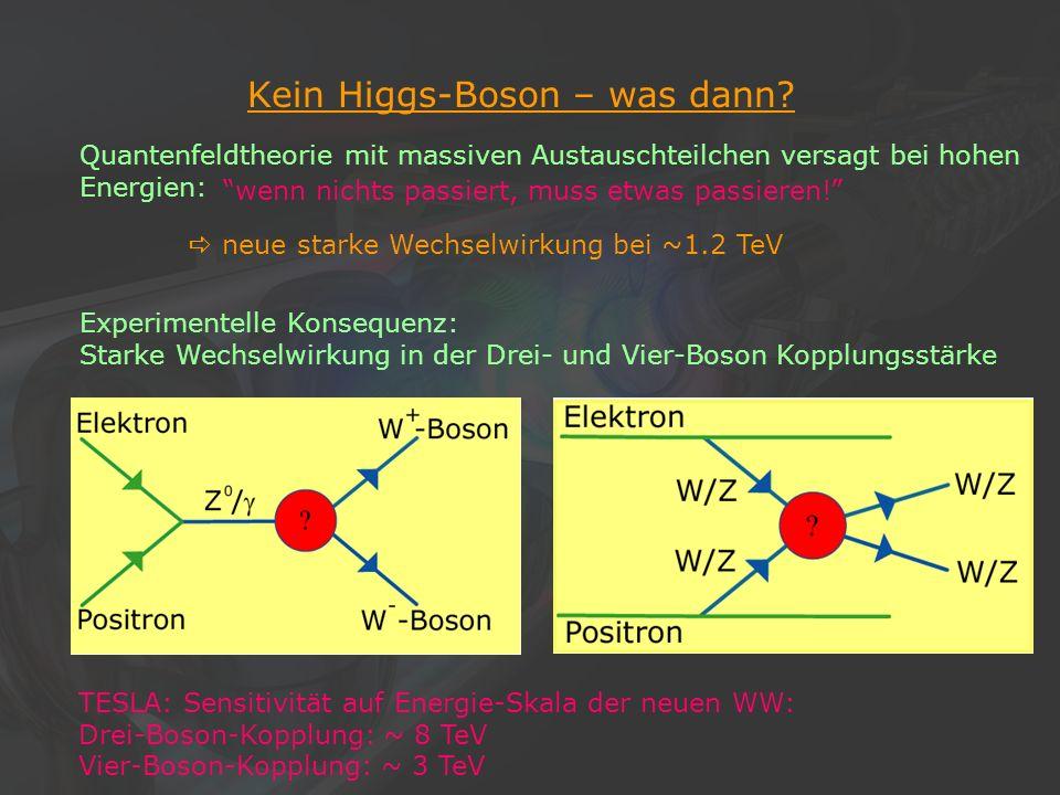 21Klaus Desch, Der Elektron-Positron-Linearcollider TESLA, 22/11/2002 Kein Higgs-Boson – was dann? Quantenfeldtheorie mit massiven Austauschteilchen v