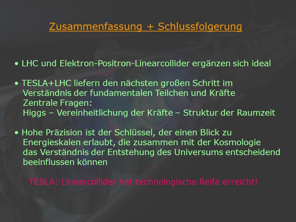 26Klaus Desch, Der Elektron-Positron-Linearcollider TESLA, 22/11/2002 Zusammenfassung + Schlussfolgerung LHC und Elektron-Positron-Linearcollider ergä