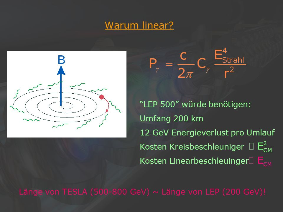 9Klaus Desch, Der Elektron-Positron-Linearcollider TESLA, 22/11/2002 Warum supraleitend.