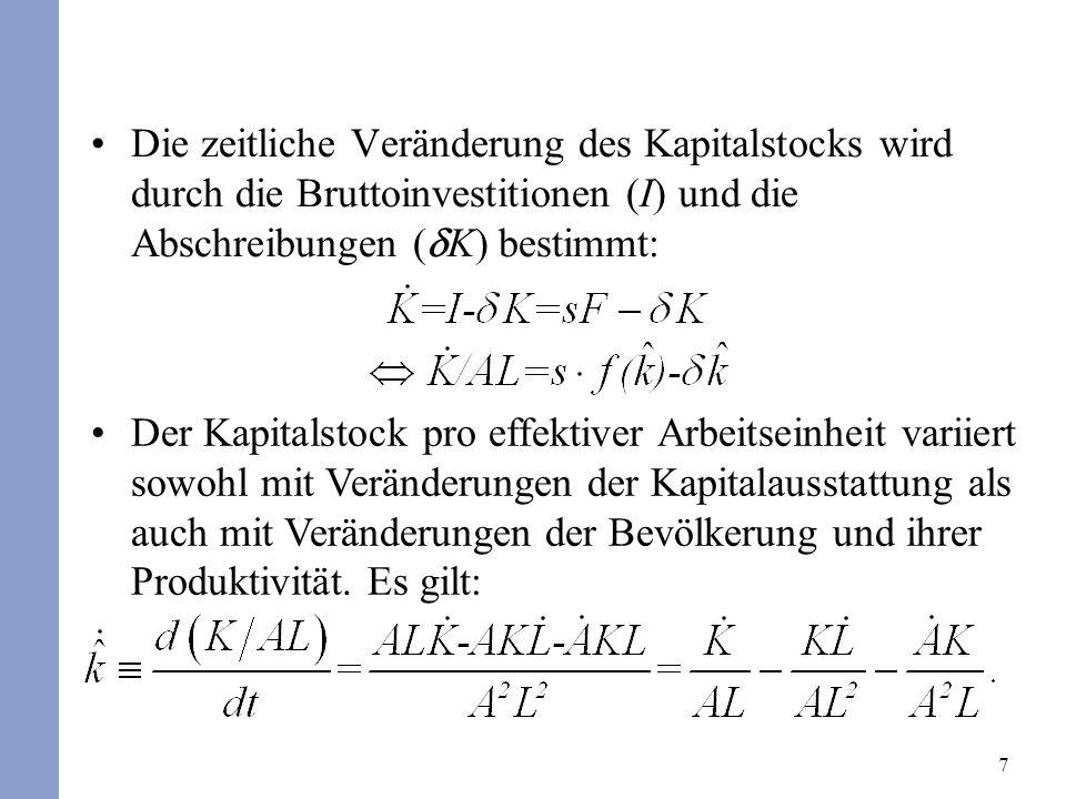 7 Die zeitliche Veränderung des Kapitalstocks wird durch die Bruttoinvestitionen (I) und die Abschreibungen ( K) bestimmt: Der Kapitalstock pro effekt