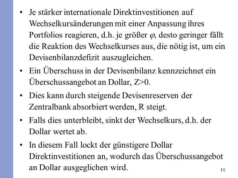 11 Je stärker internationale Direktinvestitionen auf Wechselkursänderungen mit einer Anpassung ihres Portfolios reagieren, d.h. je größer, desto gerin