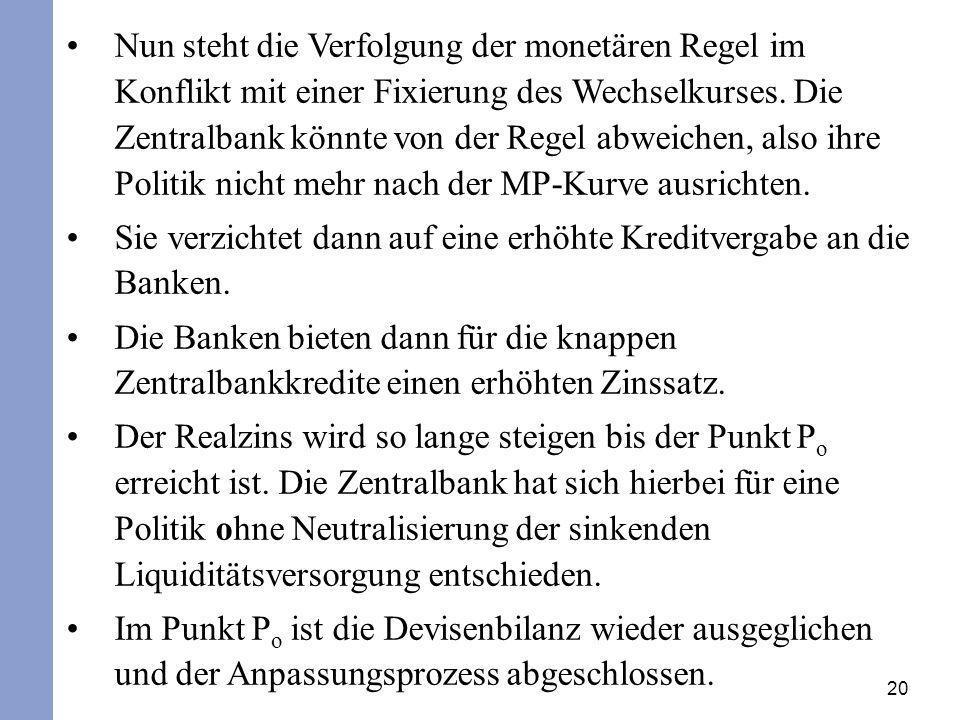 20 Nun steht die Verfolgung der monetären Regel im Konflikt mit einer Fixierung des Wechselkurses. Die Zentralbank könnte von der Regel abweichen, als