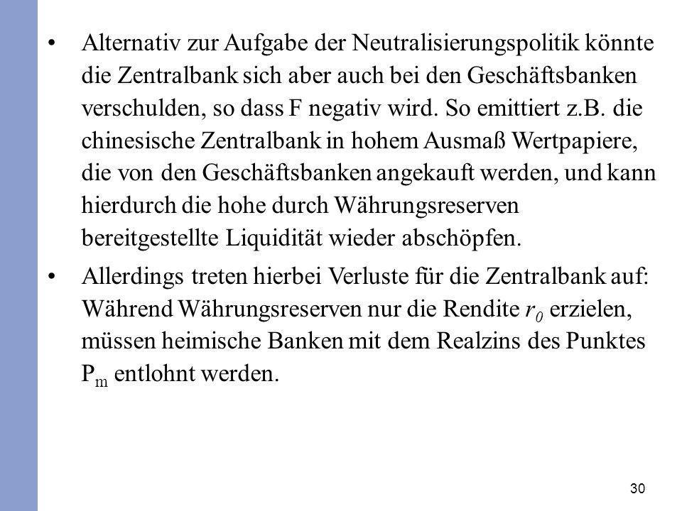 30 Alternativ zur Aufgabe der Neutralisierungspolitik könnte die Zentralbank sich aber auch bei den Geschäftsbanken verschulden, so dass F negativ wir