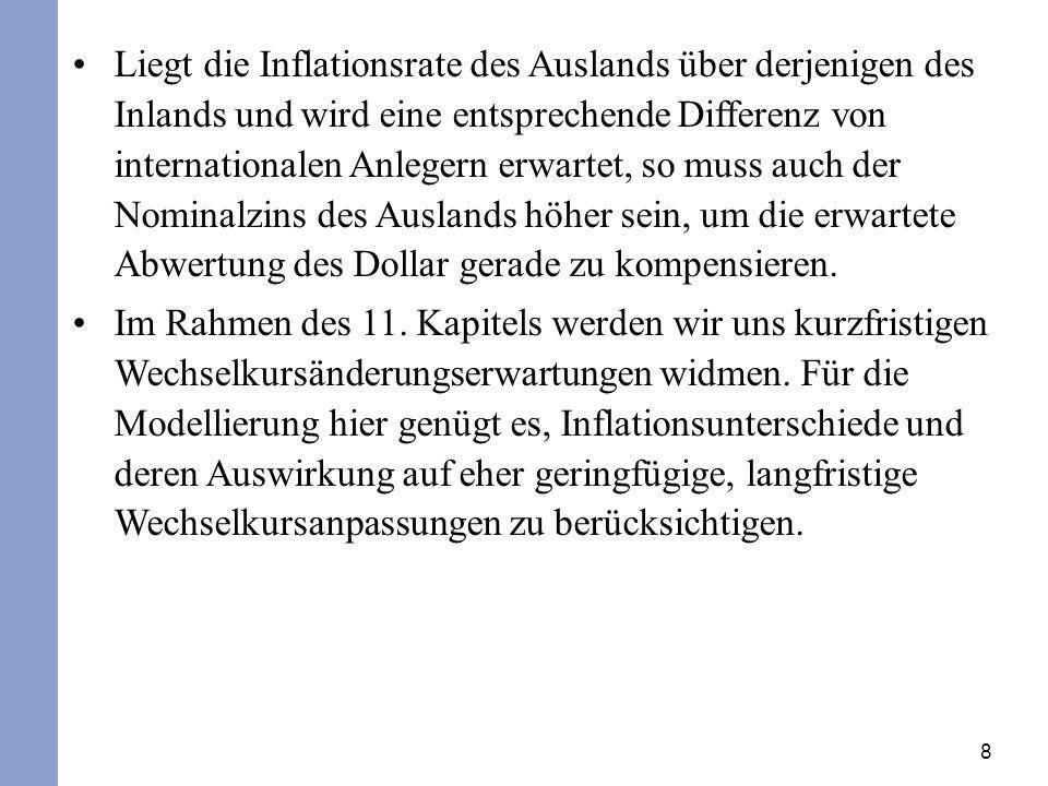 8 Liegt die Inflationsrate des Auslands über derjenigen des Inlands und wird eine entsprechende Differenz von internationalen Anlegern erwartet, so mu