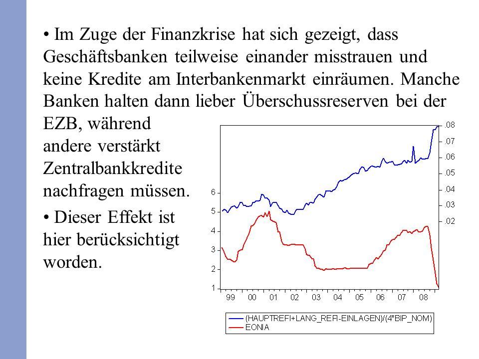 Im Zuge der Finanzkrise hat sich gezeigt, dass Geschäftsbanken teilweise einander misstrauen und keine Kredite am Interbankenmarkt einräumen. Manche B
