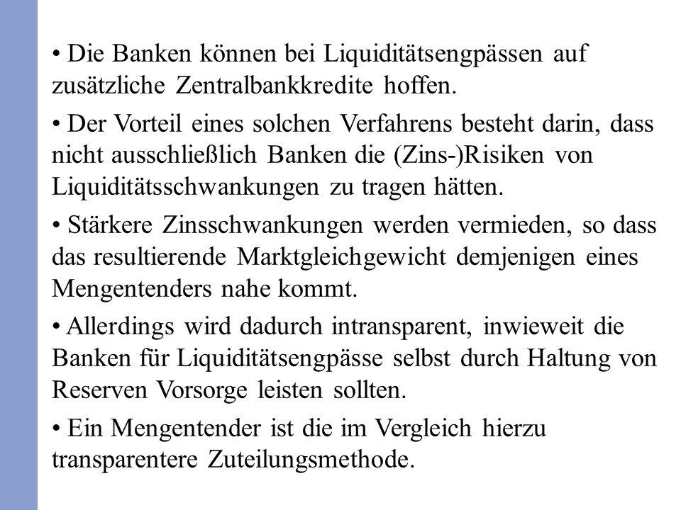 Die Banken können bei Liquiditätsengpässen auf zusätzliche Zentralbankkredite hoffen. Der Vorteil eines solchen Verfahrens besteht darin, dass nicht a