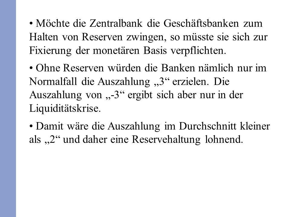 Möchte die Zentralbank die Geschäftsbanken zum Halten von Reserven zwingen, so müsste sie sich zur Fixierung der monetären Basis verpflichten. Ohne Re