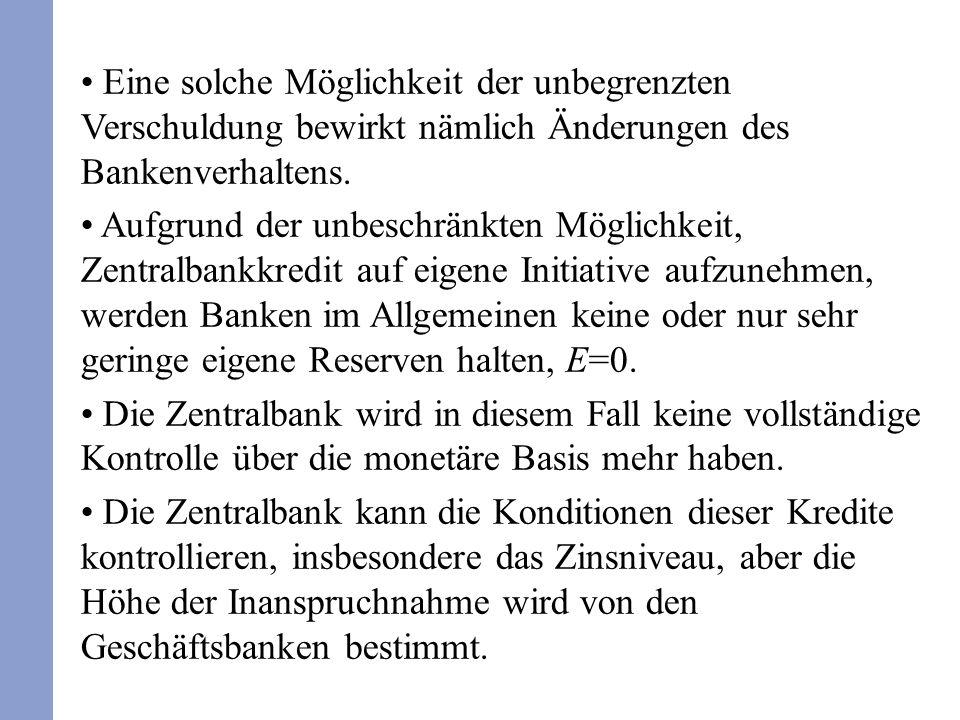 Eine solche Möglichkeit der unbegrenzten Verschuldung bewirkt nämlich Änderungen des Bankenverhaltens. Aufgrund der unbeschränkten Möglichkeit, Zentra