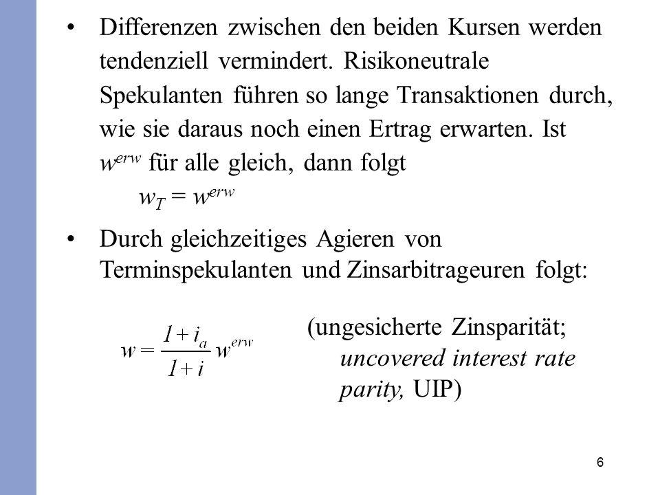 7 Eine Änderung des für die Zukunft erwarteten Kassakurses hat eine proportional gleiche Änderung des laufenden Kassakurses w zur Folge.