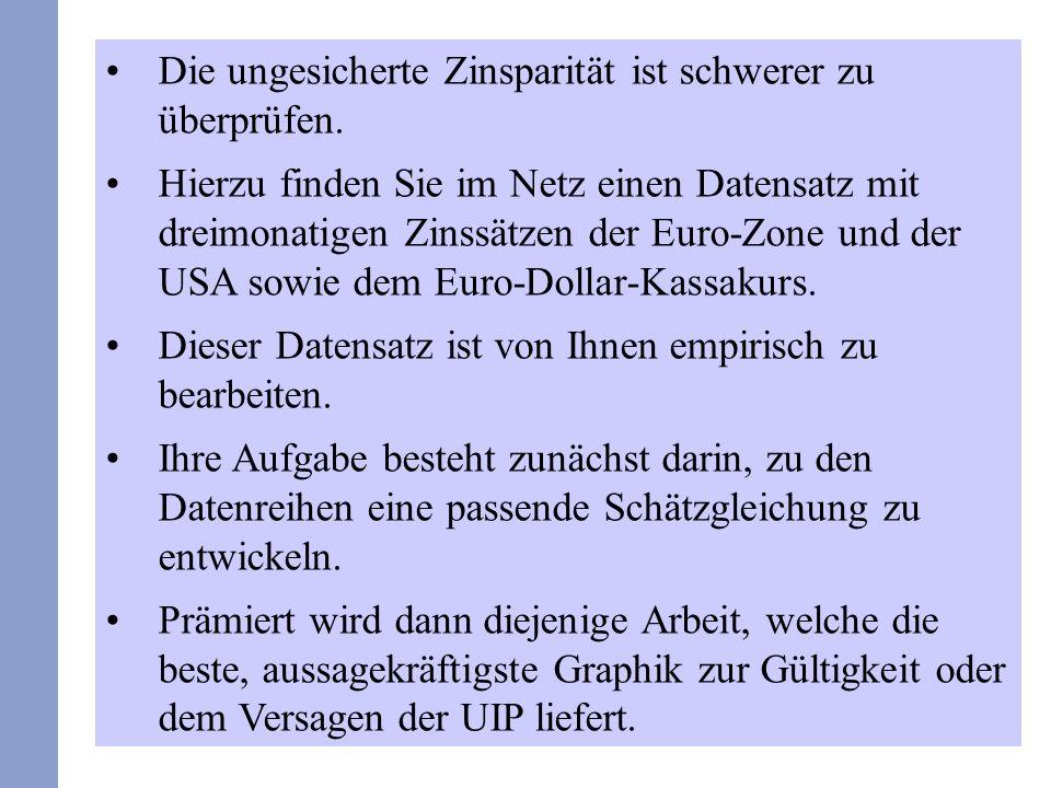 40 Demzufolge ist der Terminkurs kein unverfälschter Schätzer des erwarteten Wechselkurses mehr.