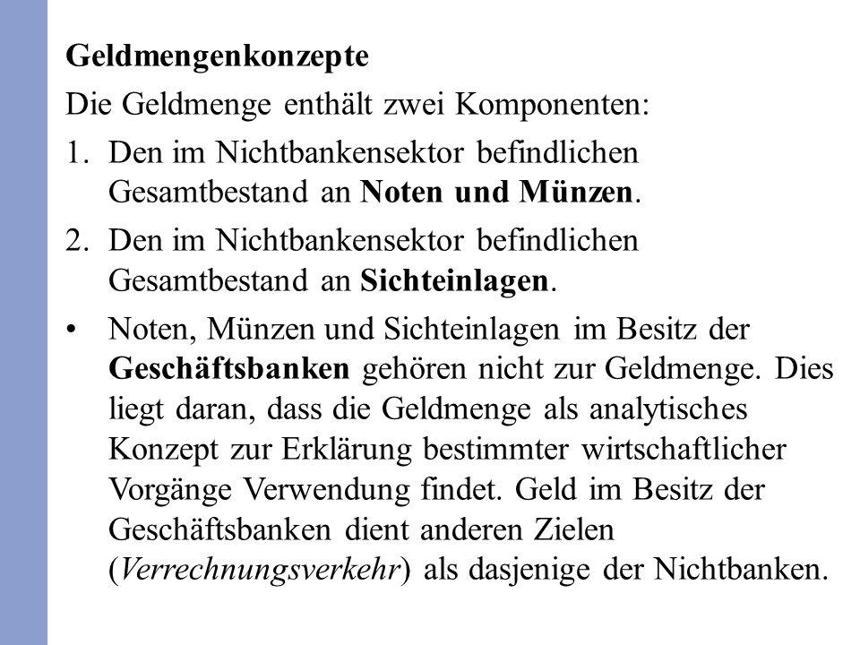 Geldmengenkonzepte Die Geldmenge enthält zwei Komponenten: 1.Den im Nichtbankensektor befindlichen Gesamtbestand an Noten und Münzen. 2.Den im Nichtba