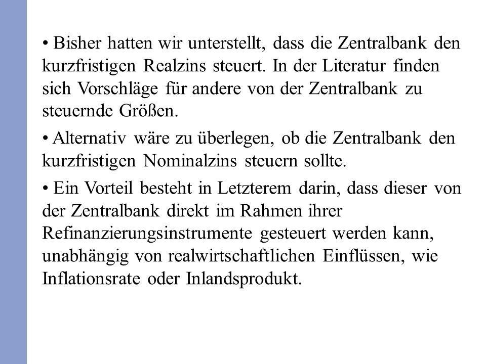 Statt der bisherigen Taylor-Regel würden wir somit die folgende Regel verwenden: Aber eine Steuerung des nominalen Zinsniveaus hat einen Nachteil.
