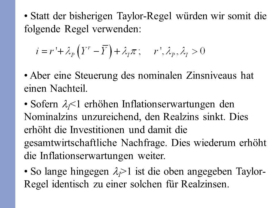 Gegen eine Fixierung von (realen oder nominalen) Zinsen wird auch vorgebracht, dass evtl.