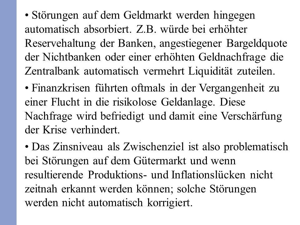 Störungen auf dem Geldmarkt werden hingegen automatisch absorbiert.