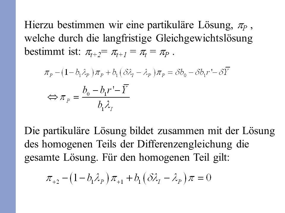 Hierzu bestimmen wir eine partikuläre Lösung, P, welche durch die langfristige Gleichgewichtslösung bestimmt ist: t+2 = t+1 = t = P. Die partikuläre L