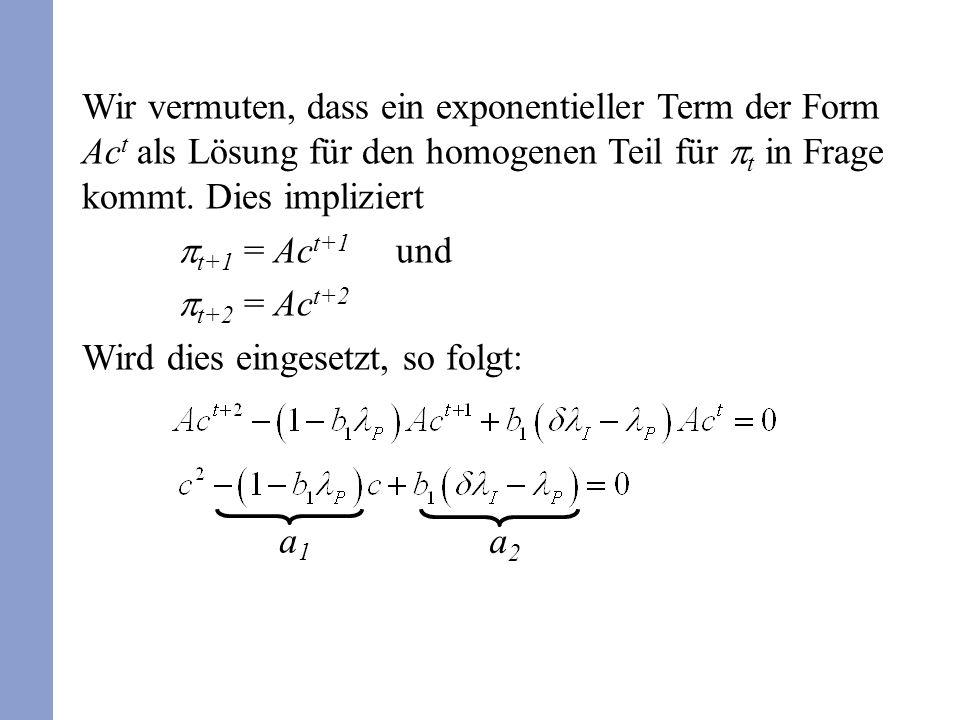 Wir vermuten, dass ein exponentieller Term der Form Ac t als Lösung für den homogenen Teil für t in Frage kommt. Dies impliziert t+1 = Ac t+1 und t+2