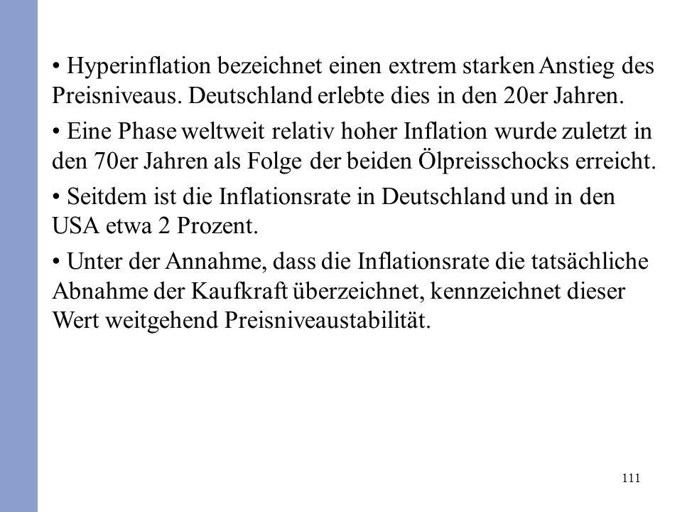 111 Hyperinflation bezeichnet einen extrem starken Anstieg des Preisniveaus. Deutschland erlebte dies in den 20er Jahren. Eine Phase weltweit relativ