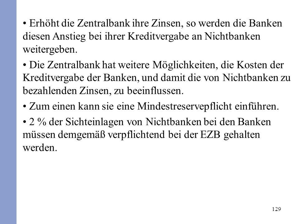 129 Erhöht die Zentralbank ihre Zinsen, so werden die Banken diesen Anstieg bei ihrer Kreditvergabe an Nichtbanken weitergeben. Die Zentralbank hat we