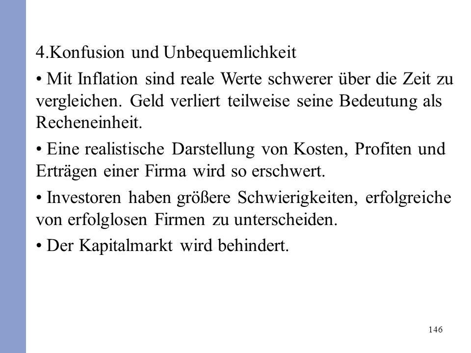146 4.Konfusion und Unbequemlichkeit Mit Inflation sind reale Werte schwerer über die Zeit zu vergleichen. Geld verliert teilweise seine Bedeutung als