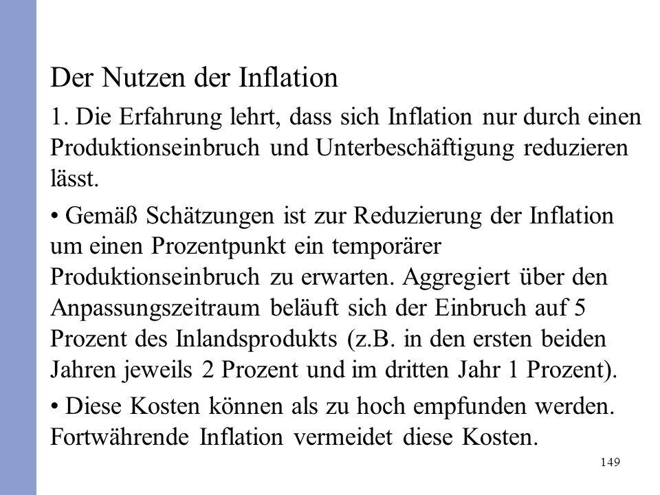 149 Der Nutzen der Inflation 1. Die Erfahrung lehrt, dass sich Inflation nur durch einen Produktionseinbruch und Unterbeschäftigung reduzieren lässt.