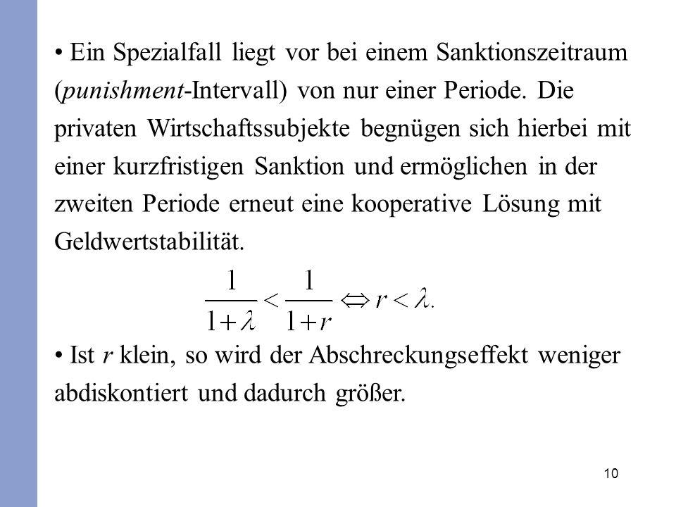 10 Ein Spezialfall liegt vor bei einem Sanktionszeitraum (punishment-Intervall) von nur einer Periode. Die privaten Wirtschaftssubjekte begnügen sich