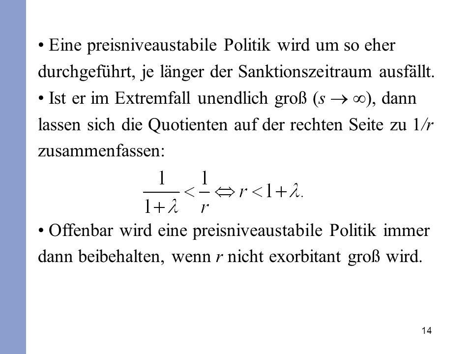 14 Eine preisniveaustabile Politik wird um so eher durchgeführt, je länger der Sanktionszeitraum ausfällt. Ist er im Extremfall unendlich groß (s ), d