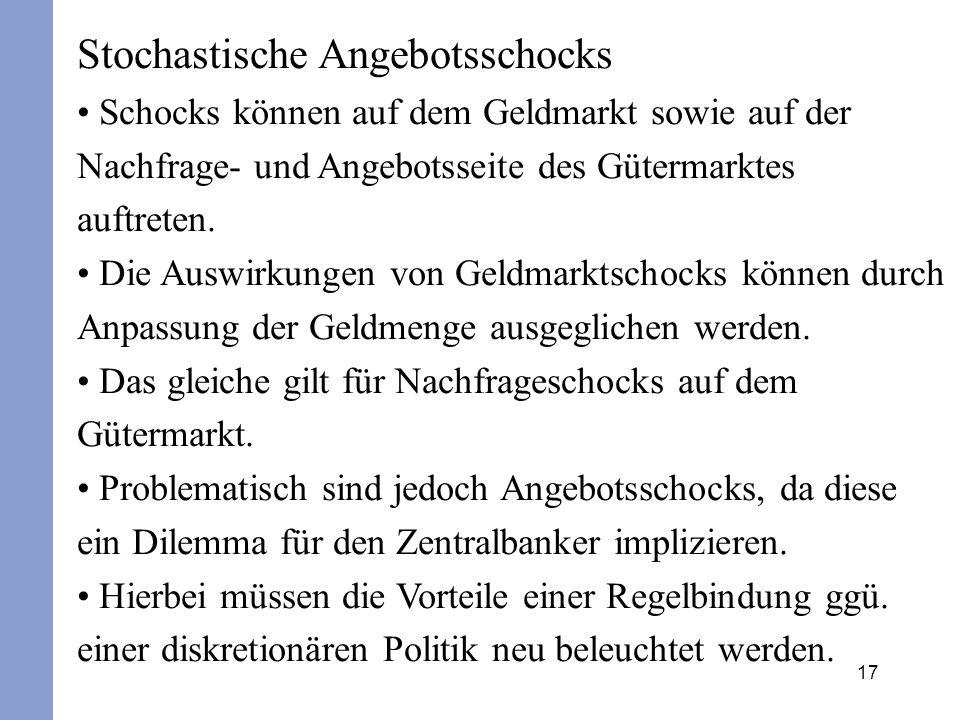 17 Stochastische Angebotsschocks Schocks können auf dem Geldmarkt sowie auf der Nachfrage- und Angebotsseite des Gütermarktes auftreten. Die Auswirkun