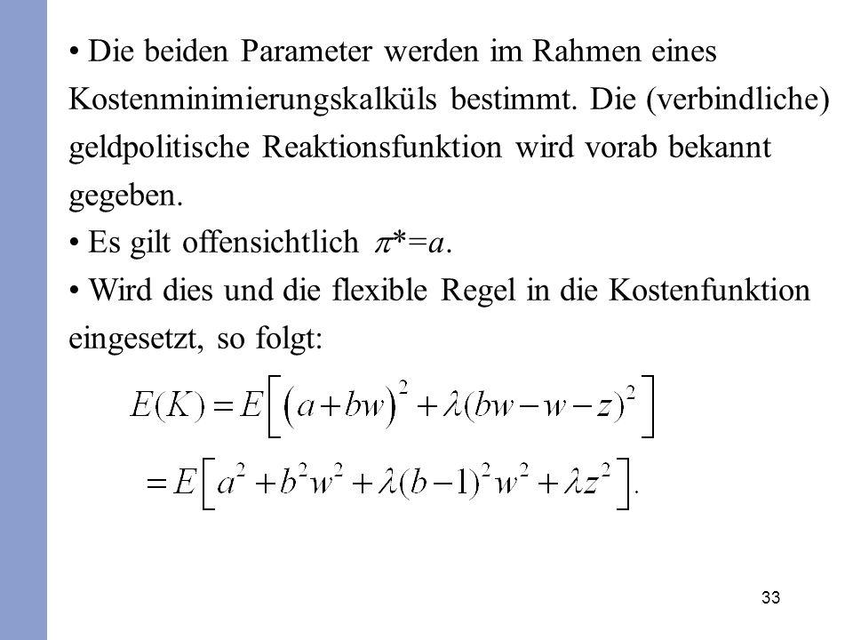 33 Die beiden Parameter werden im Rahmen eines Kostenminimierungskalküls bestimmt. Die (verbindliche) geldpolitische Reaktionsfunktion wird vorab beka