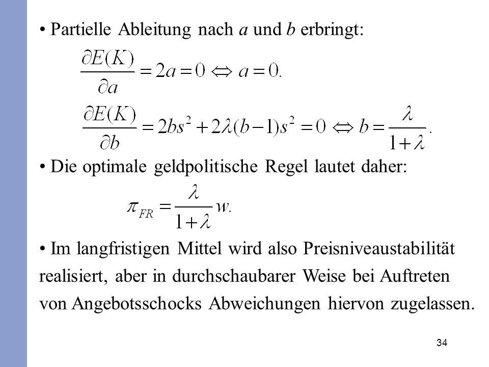 34 Partielle Ableitung nach a und b erbringt: Die optimale geldpolitische Regel lautet daher: Im langfristigen Mittel wird also Preisniveaustabilität