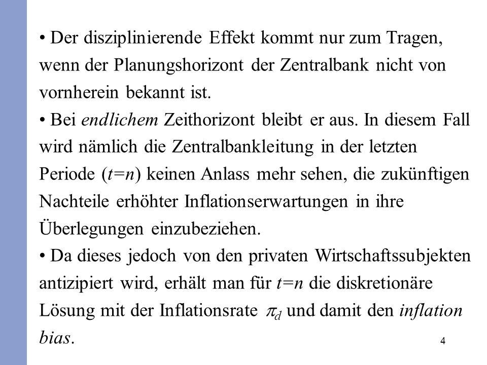 5 Stehen somit Bestrafung und Ergebnis für die letzte Periode ohnehin fest, dann liegt für die Zentralbank- leitung kein Grund mehr vor, in der vorletzten Periode (t=n–l) auf eine produktionstimulierende Überraschungsinflation zu verzichten.
