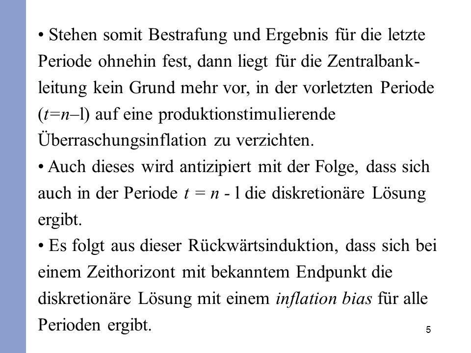 5 Stehen somit Bestrafung und Ergebnis für die letzte Periode ohnehin fest, dann liegt für die Zentralbank- leitung kein Grund mehr vor, in der vorlet