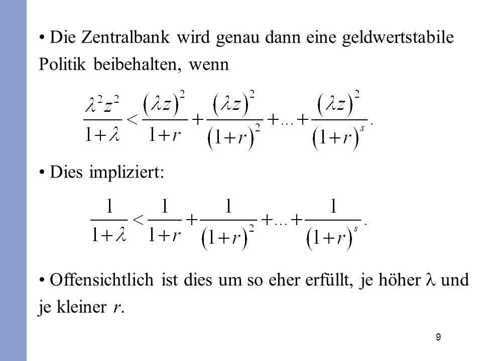 20 Ist die Zentralbank zu einer starren Regelbindung verpflichtet ( =0), so bleiben die Auswirkungen von Angebotsschocks auf die Produktion unberücksichtigt.