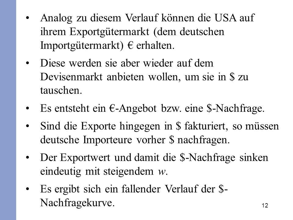 12 Analog zu diesem Verlauf können die USA auf ihrem Exportgütermarkt (dem deutschen Importgütermarkt) erhalten. Diese werden sie aber wieder auf dem