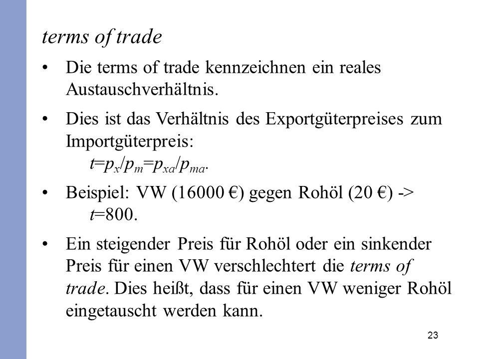 23 terms of trade Die terms of trade kennzeichnen ein reales Austauschverhältnis. Dies ist das Verhältnis des Exportgüterpreises zum Importgüterpreis: