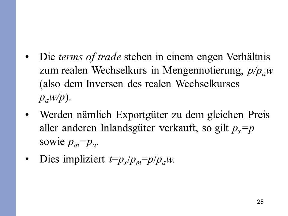 25 Die terms of trade stehen in einem engen Verhältnis zum realen Wechselkurs in Mengennotierung, p/p a w (also dem Inversen des realen Wechselkurses