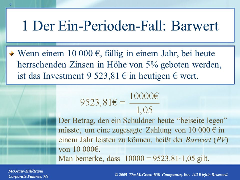 McGraw-Hill/Irwin Corporate Finance, 7/e © 2005 The McGraw-Hill Companies, Inc. All Rights Reserved. 3 1 Der Ein-Perioden-Fall: Endwert Im Ein-Periode