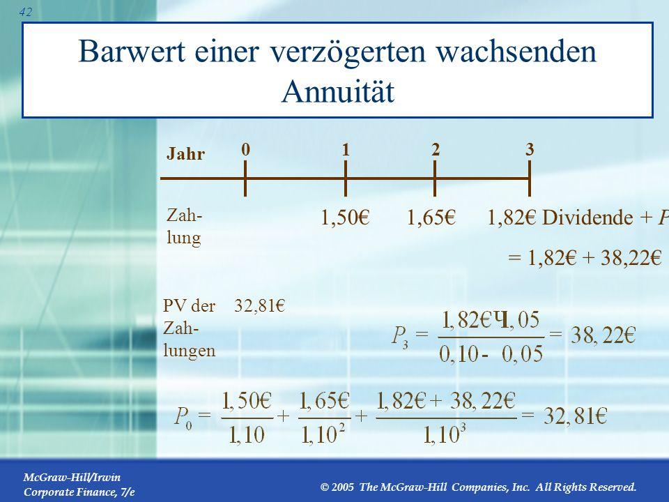 McGraw-Hill/Irwin Corporate Finance, 7/e © 2005 The McGraw-Hill Companies, Inc. All Rights Reserved. 41 Barwert einer verzögerten wachsenden Annuität
