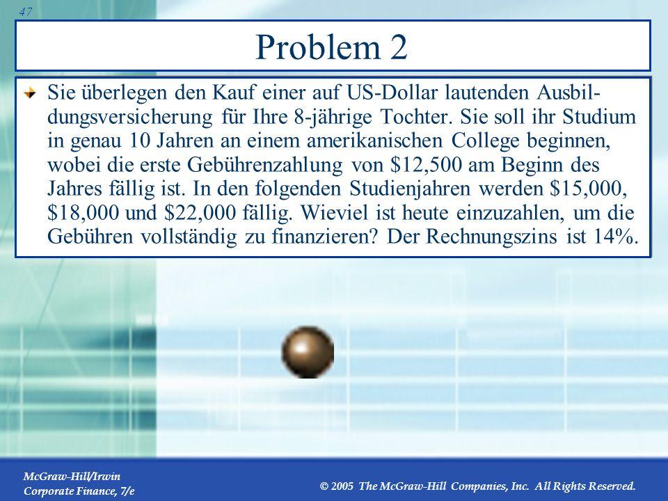 McGraw-Hill/Irwin Corporate Finance, 7/e © 2005 The McGraw-Hill Companies, Inc. All Rights Reserved. 46 Problem 1 Sie haben 30000 Verbindlichkeiten au