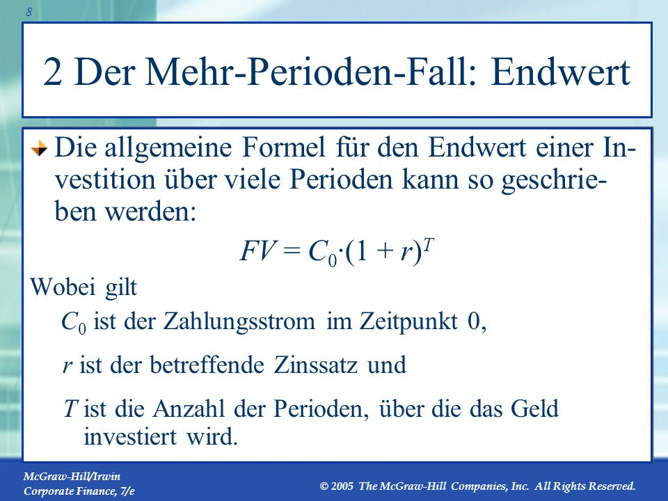McGraw-Hill/Irwin Corporate Finance, 7/e © 2005 The McGraw-Hill Companies, Inc. All Rights Reserved. 7 1 Der Ein-Perioden-Fall: Kapitalwert Im Ein-Per