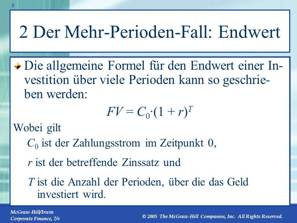 McGraw-Hill/Irwin Corporate Finance, 7/e © 2005 The McGraw-Hill Companies, Inc. All Rights Reserved. 7 1 Der Ein-Perioden-Fall: Kapitalwert Im Ein-Per