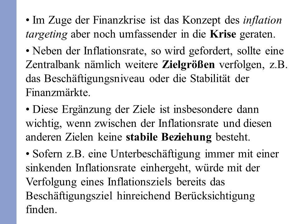 Im Zuge der Finanzkrise ist das Konzept des inflation targeting aber noch umfassender in die Krise geraten. Neben der Inflationsrate, so wird geforder